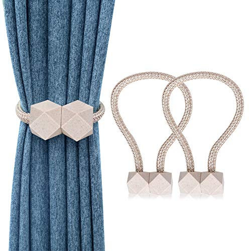 WENYECHEN 2 Stücke Magnetische Vorhang Raffhalter Dekorativ Raffhalter für Vorhänge Kreativ Gardinen Raffhalter Praktisch Gardinenhalter für Haus Büro Dekoration (Beige)