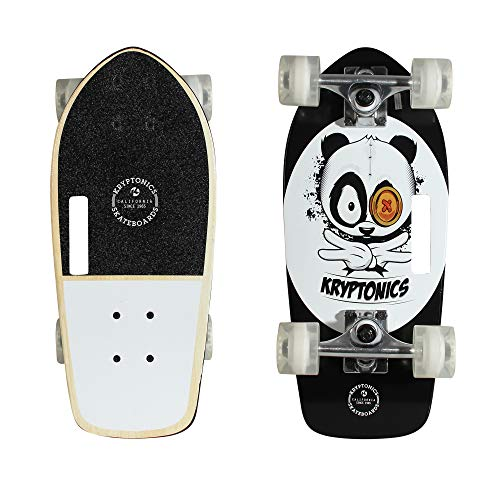 Kryptonics Stubby 19 Inch Complete Skateboard - Panda Vibes, Black