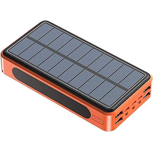 MIAOLAN Cargador Solar 100000Mah Solar Powerbank, QI Carga Inalámbrico Power Bank Solar, 3 Modo Iluminación 3 LED Cargador Portatil Bateria Externa Movil para iPad Teléfono Y Viajes Cámping,Naranja
