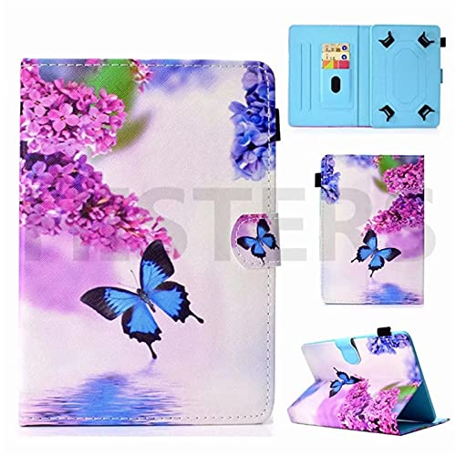 Funda universal para tablet de 10 pulgadas, con soporte universal para Tab de 10', diseño de mariposa, color azul, rosa y lila