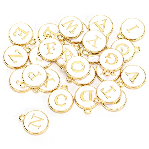 26 piezas letras del alfabeto encantos colgante letras cuentas colgantes redondos para collar pulsera fabricación de joyas artesanía DIY