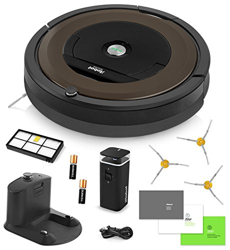 iRobot Roomba 890 Vacuum Cleaning Robot + Dual Mode Virtual Wall Barrier (With Batteries) + 3 Extra Side Brushes + Extra High Efficiency Filter + More