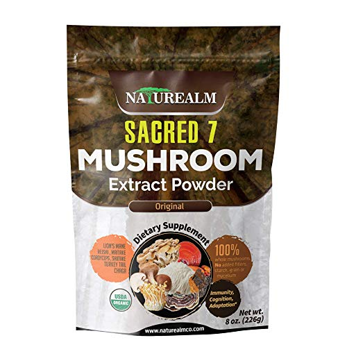 Sacred 7 Mushroom Extract Powder - USDA Organic - Lion's Mane, Reishi, Cordyceps, Maitake, Shiitake, Turkey Tail, Chaga - 226g -Supplement - Add to Coffee/Tea/Smoothies - Whole Mushrooms - No fillers