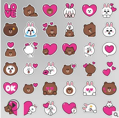 HUNSHA Cartoon Cute Brown Bear And Connie Rabbit Emoji Stickers Book Stationery Mobile Phone Decoration Hand Account Stickers 40Pcs