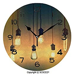 SCOCICI Frameless Clock 3D DIY Decorative Clock Retro Style Equipments Original Concept for Modern Artwork Design 10 Inch Large Size Round Wall Clock for Living Room Bedroom Office Hotel