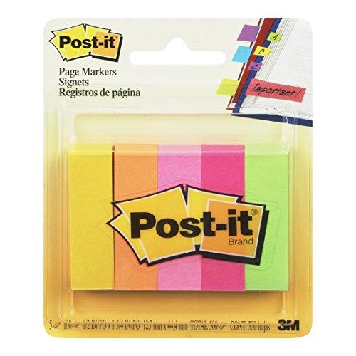 Post-it Index Segnapagina in Carta, Foglietti Adesivi Colorati, 5 Blocchetti da 100 Foglietti Adesivi, 500 Linguette Adesive, Colori Assortiti Verde, Fucsia, Arancio, Rosa, Giallo, Formato 15x50 mm