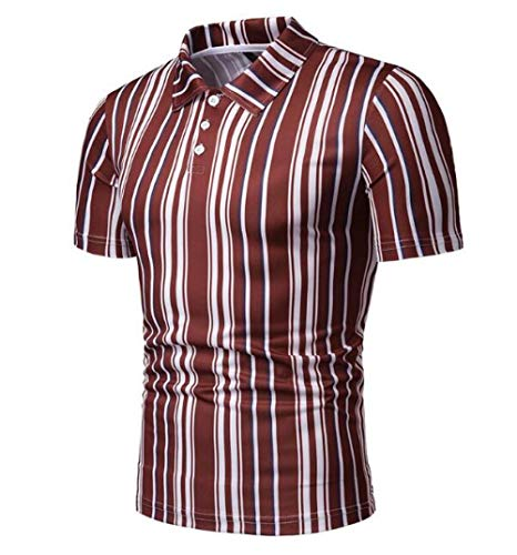 CHENGNT T-Shirts mannen contrast kleur gestreepte revers business t-shirt glad ademend zomer korte mouwen werk partij poloshirt