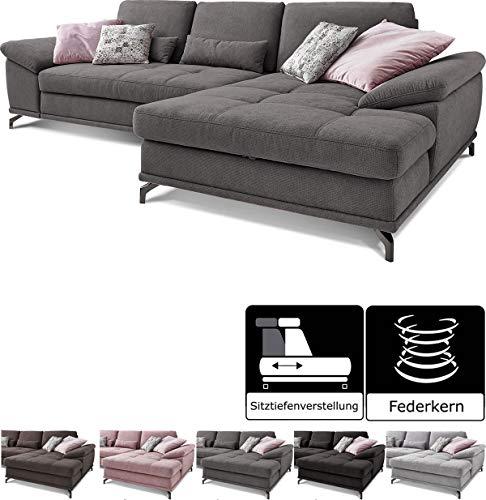 Cavadore Ecksofa Castiel mit Federkern, großes Sofa in L-Form mit Sitztiefenverstellung und XL-Longchair, 312 x 89 x 173, Webstoff, grau