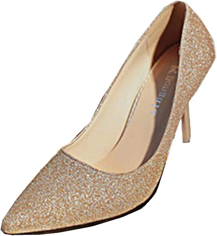 GUJMin High-Heeled Women's Sexy high-Heeled Pointed high-Heeled Dress Wedding shoes(0 0)