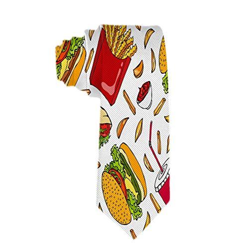 Taza clásica de Burger Cola para hombre con paja Papas fritas Ketchup Jacquard Corbata Traje de fiesta formal...