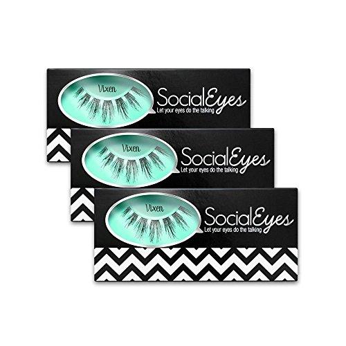 SocialEyes Vixen 3 Pack Bundle Cruelty Free Fake Eyelashes False Black