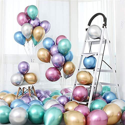 mreechan Palloncini in Metallo, 50PCS Palloncini Metallici,Colorati, Palloncini in Metallo a 6 Colori, Palloncini in Elio a Palloncini in Lattice, per Decorazioni per Feste di Compleanno, ECC.