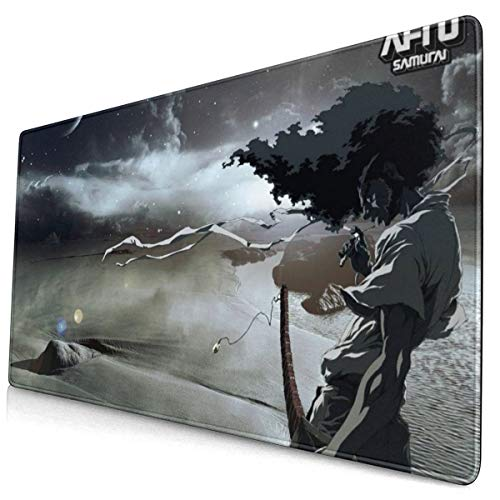 Afro Samurai Japanese Anime Style Large Gaming Mouse Pad Desk Mat Long Non-Slip Rubber Stitched Edges Mice Pads 15.8x29.5 in
