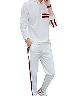 Maweisong Men's Coat Active Casual Sweatshirt Zip-Up Sport 2 Piece Hood Set