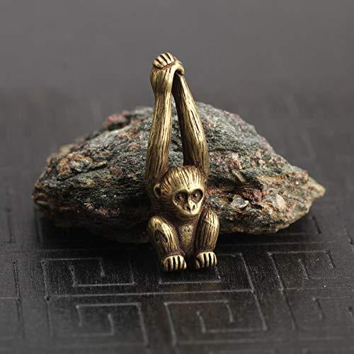 ZGPTX Estatua de Cobre de Mono de la Suerte, pequeños Adornos, Figuras de gibón de Animales de latón Vintage, decoración del hogar, Adornos de Escritorio, Colgantes