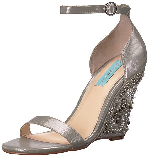 Price comparison product image Blue by Betsey Johnson Women's SB-Alisa Wedge Sandal,  Silver,  7.5 M US