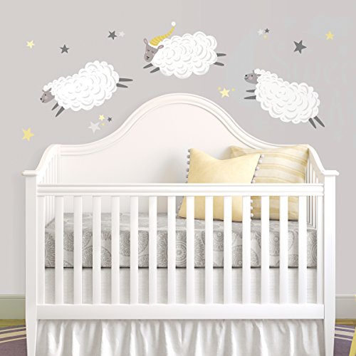 RoomMates Counting Sheep Peel And Stick Wall Decals,White, Yellow, Blue