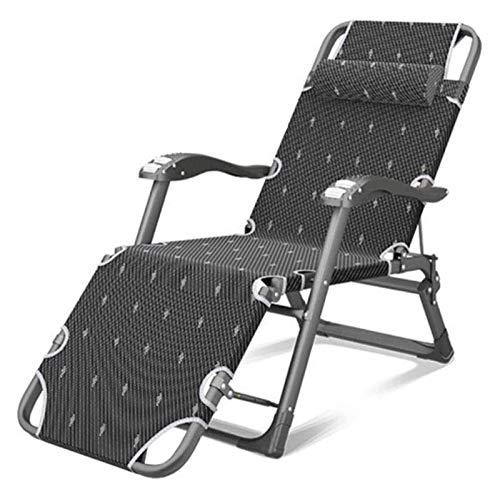 MTFZD Heavy Duty Sun Lounger Chair Garden Furniture Camping Garden Deck Chairs Folding Zero Gravity Recliner Reclining Waterproof Chaise (Color : Black)