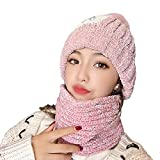 CHERISH Conjunto de bufanda para mujer, gorro de punto, bufanda de invierno,...