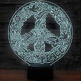 3D Illusion Light Luces De La Noche De La Forma Del Signo De La Paz Del Arte Hippie Para La Iluminación Llevada Lámpara De Mesa De La Decoración Usb De La Oficina