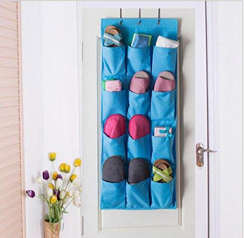 GYMNLJY Chaussure de porte de grille 12 stockage sac tissu d'Oxford sacs rangement peut être lavé ménage éléments suspendus de sous-vêtements sac (pack de 2) , blue