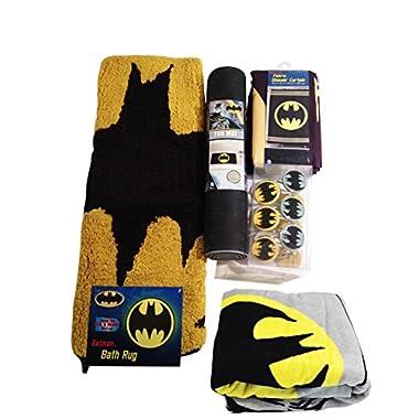 Batman Bathroom Set, Shower Curtain, Hooks, Bath Rug, Bath Towel, and Bath Tub Mat