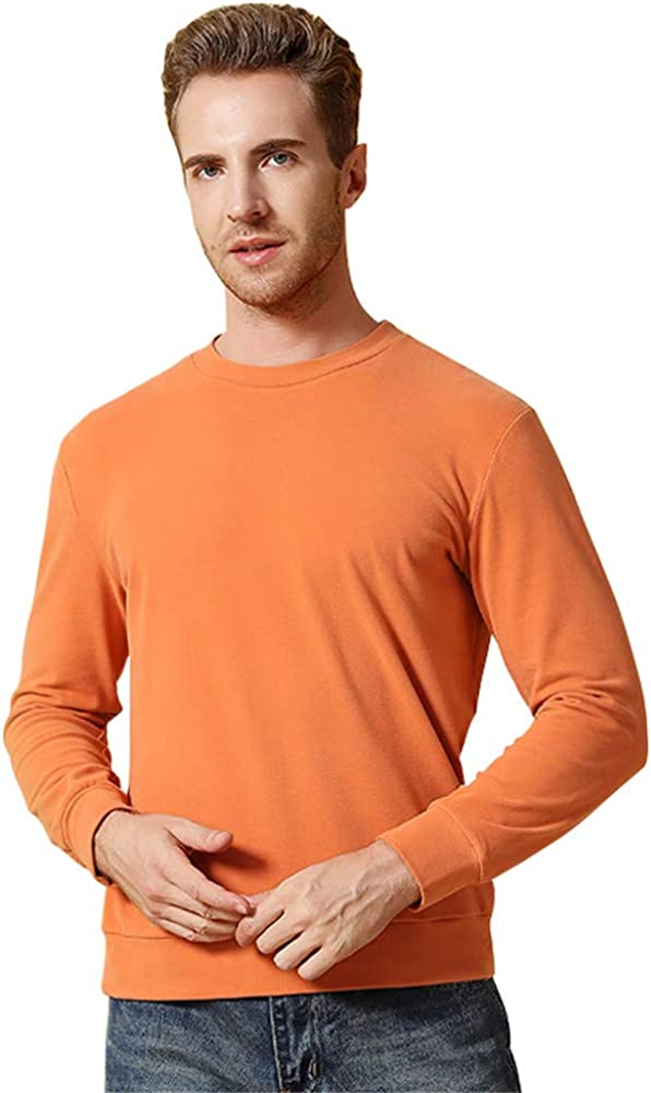 Dizadec Thermal Top for Men, Mens Crew Neck Thermal Shirt Cotton Fleece Lined Base Layer Long Sleeve Thermal Crew Neck Shirt
