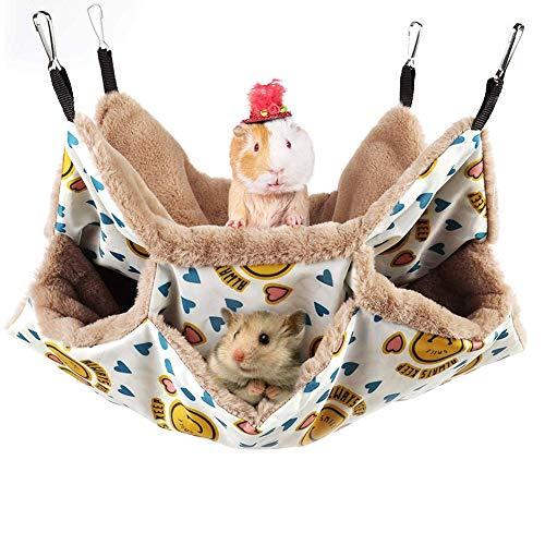 YMJJ Hamaca Litera Triple para Mascotas Pequeñas, Accesorios De Jaula De Conejillo De Indias, Cama De Hamaca Cálida De Felpa para Animales Pequeños Escondite para Ardillas,20 * 20cm
