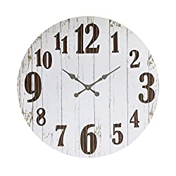 Creative Co-op Black & White Round Wood & Metal Wall Clock