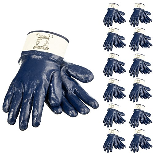 JORESTECH Safety Work Gloves Blue Nitrile Coating Heavy Duty Cotton Fabric Chemical Resistant Pack of 12 GD-05 (Size 9-L)