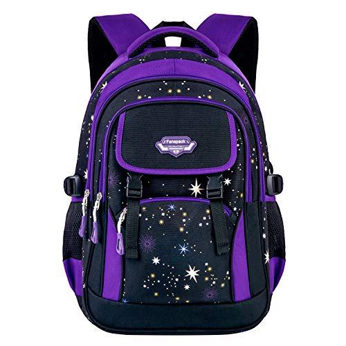 Mochilas Escolares,Fanspack Mochilas Colegio Mochila Infantil para Juveniles (Estrellas púrpuras)