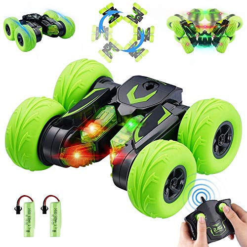 OYE HOYE LED RC Stunt Cars for Kids 4WD 2.4Ghz Remote Control Race Stunt Cars with Headlight 360° Flips RC Car Wireless Remote Control Car RC Truck Vehicles Toy Car for Gift