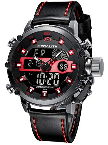 MEGALITH Mens Watches with Leather Waterproof Digital Military Sport Tactical Multifunction Heavy Duty Led Black Watch for Men, Alarm Stopwatch