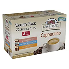 Contains 24 single serve cups each of Hazelnut, French Vanilla, and Caramel flavors Now you can indulge in any of our delightful coffee shop treats right at home, anytime Convenient for busy mornings or when you need an on-the-go treat Kosher certifi...