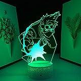 Lámpara mesa ilusión 3D luz noche Led Base lava figura Anime corte trueno decoración habitación Color Manga-16 niños con control remoto