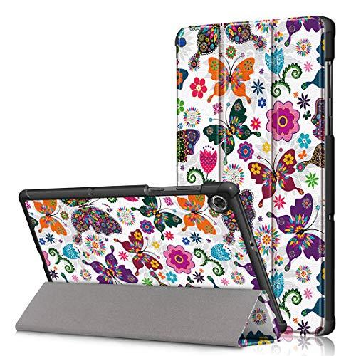 LJSM Funda para Lenovo Tab M10 FHD Plus 10.3' TB-X606F / TB-X606X Carcasa Silicona Smart Cover con Soporte Función Caso PU Flip Case - Butterfly