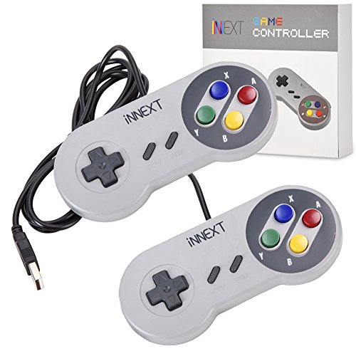 iNNEXT 2X USB Controller for SNES NES Games, Classic Retro USB Gamepad Joystick for Windows PC MAC and Raspberry Pi System