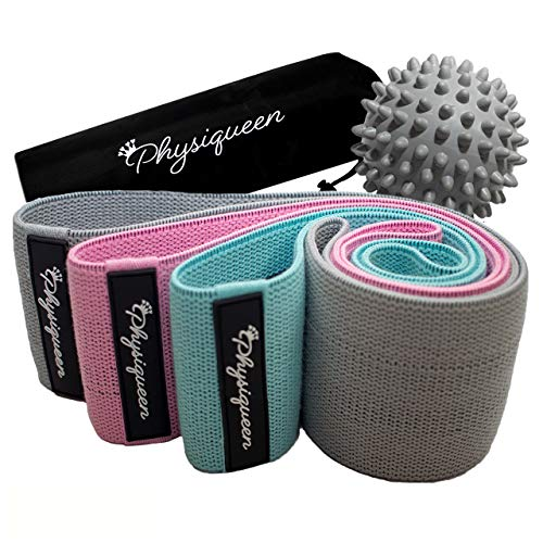 Physiqueen Resistance Bands For Legs and Glutes Free Massage Ball Thick Fabric Booty Bands With Free Carry Bag Hip Circle Premium Non Slip Bands Family Owned British Brand