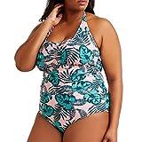 Tallas Grandes Trajes de Baño de Una Pieza para Mujer, Dragon868 Color Sólido Estampado Bañador, Vintage Halter Bikini Brasileño, Conservador Ropa de Playa Beachwear, Bikinis Monokini 2020, XL-XXXXL