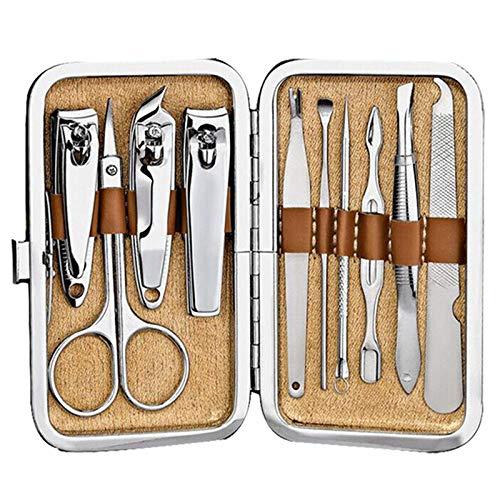FPXNBONE Manucure Pédicure Outil du Kit,Set de 10 Coupe-Ongles, Outils de manucure Portables,Inoxydable Packs Coupe Ongle
