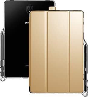 Galaxy Tab S4 10.5 Case, Poetic Smart Cover Case w/Flexible Soft Clear TPU Back, Slim-Fit Trifold Stand Folio Front, Auto Wake/Sleep, Lumos X Series, 2018 Model SM-T830/T835/T837, Champion Gold