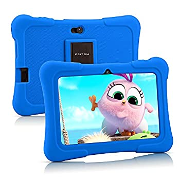 Pritom 7 inch Kids Tablet Quad Core Android 10 16GB WiFi Bluetooth Dual Camera Educationl Games,Parental Control Kids Software Pre-Installed with Kids-Tablet Case  Dark Blue
