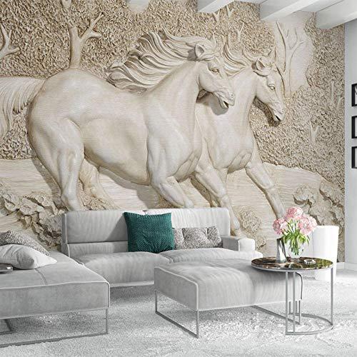 Fotobehang 3D Relief Wit Paard Behang Woonkamer Slaapkamer Slaapbank TV Home Decoratie Achtergrond Mural 200 x 140 cm. 200*140cm