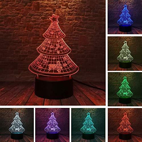 Nieuwigheid Kerstboom Bell Star Paraplu 3D 7 Toon Licht Flash Led Nacht Licht Thuis Decoratie Kind Familie Gift