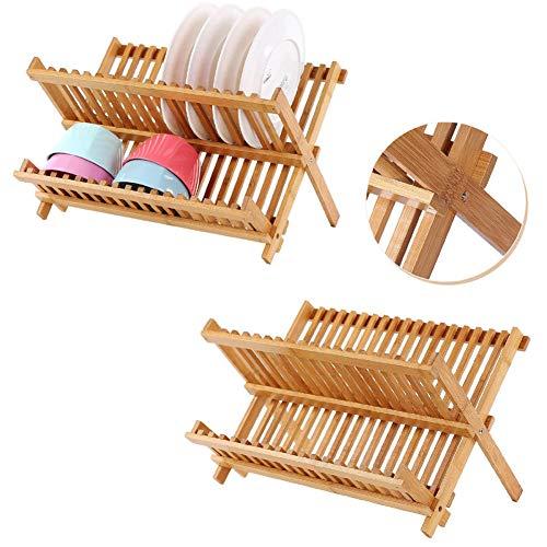 RENCALO Faltbarer Bambusgeschirr Wschetrockner Platte Schüssel Abtropffläche Küche Storage Rack-Organisator-Halter 16 Grids Küchenhelfer