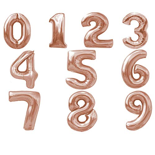 Folienballon Zahl 8 in Rose Gold - XL Riesenzahl 40 cm - Ballon im Zahlen-Design für Geburtstag Jubiläum Party Geschenk Dekoration Luftballon Happy Birthday rosegold rosé Nummer Zahlenballon