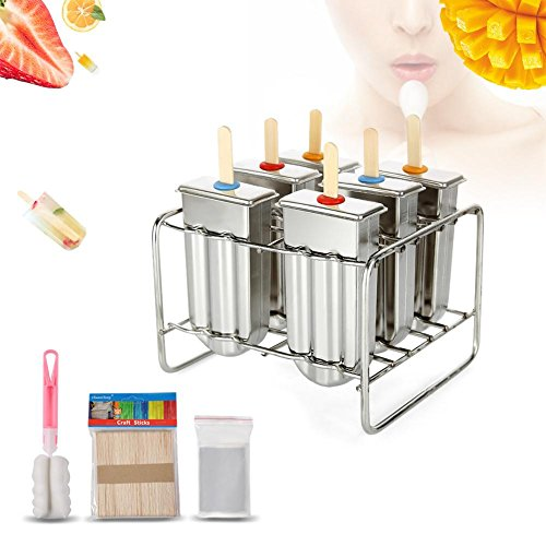 Cafopgrill Set von 6 Eisform aus Edelstahl, Eisform aus EIS am Stiel mit Edelstahlstielhalter Basis Lolly Maker Set Eisform aus EIS am Stiel DIY Ice Cream Mould Maker Freezer