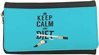 keep Calm & diet Printed Leather Case Wallet