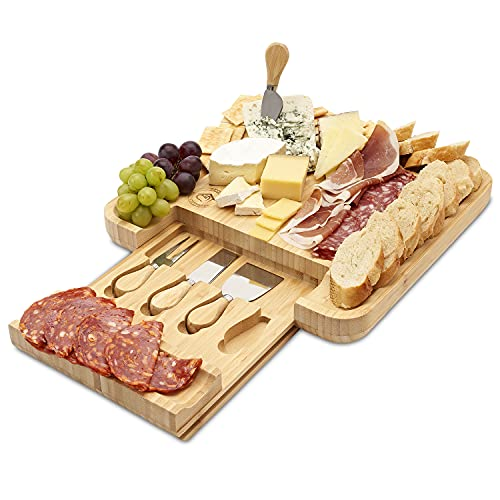 Premium Bamboo Cheese Board And Knife Set - Charcuterie Board Set With Deep Grooves & Hidden Drawer For Stainless Steel Cutlery - Wine Cheese Board Set - An Elegant Gift Idea