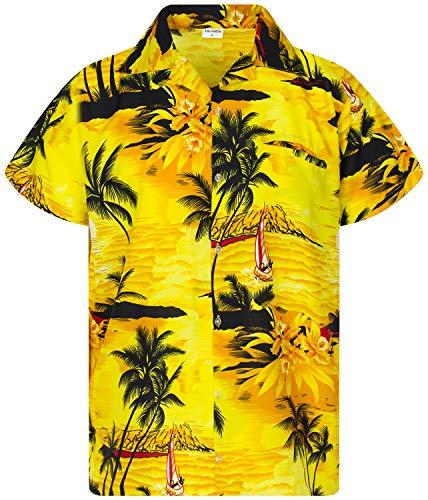 Funky Camisa Hawaiana, Manga Corta, Surf New, Amarillo, 2XL